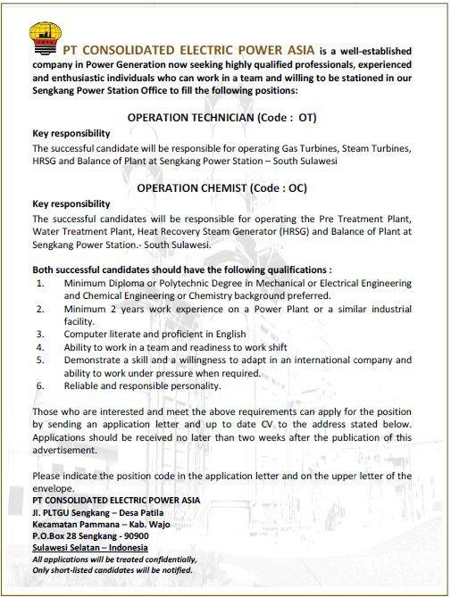 Lowongan Pekerjaan PT. Consolidated Electric Power Asia
